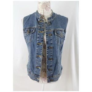 G by Guess Denim Vest Jean Sz M Band Collar